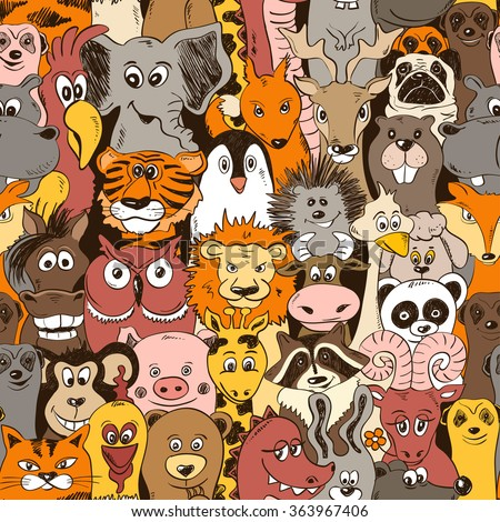 Colorful psychedelic seamless pattern with funny animals. Abstract graphic background. - stock vector