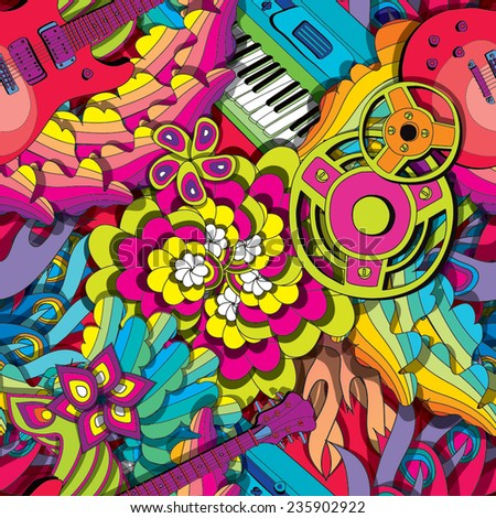 Colorful psychedelic seamless pattern with guitar and synth - stock vector