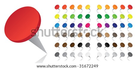 Colorful Pushpins - Vector - stock vector