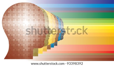 Colorful puzzle heads of men in a row in rainbow like colors.