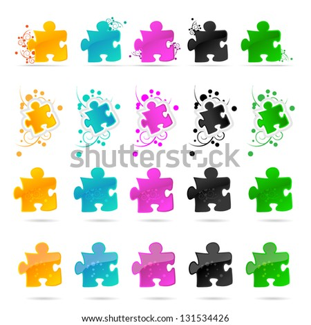 Colorful Puzzle Pieces Isolated On White Background - Vector Illustration, Graphic Design - Editable For Your Design. Puzzle Logo