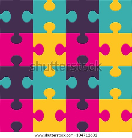 Colorful puzzle seamless background pattern. Vector illustration. - stock vector