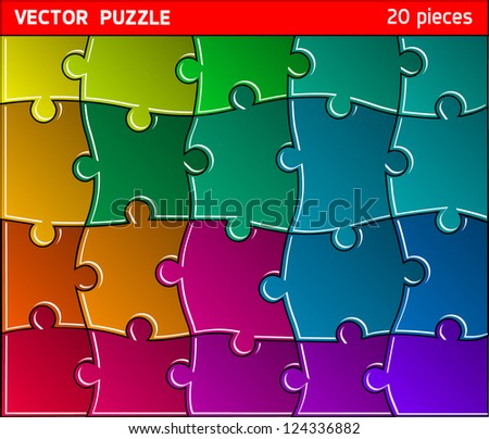 Colorful puzzle vector - stock vector