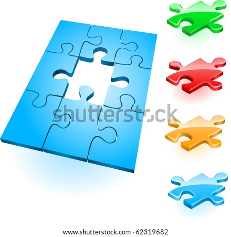 Colorful puzzles and nine connected parts - stock vector