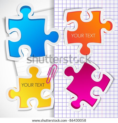 Colorful puzzles with space for text - stock vector