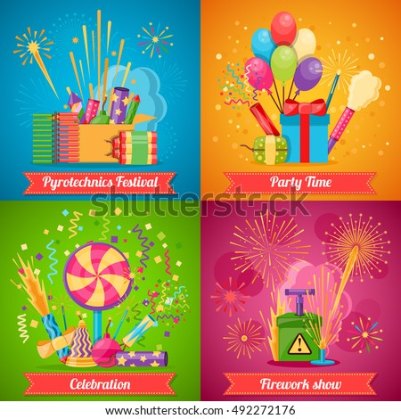 Colorful pyrotechnics festival flat 2x2 icons set with various crackers balloons and decorations for party and firework show isolated vector illustration
