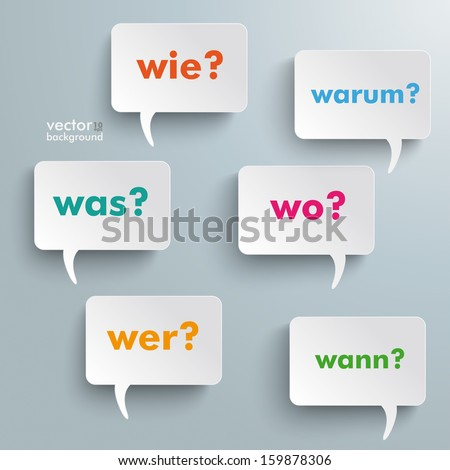 Colorful questions speech paper bubbles with numbers. German text warum, was, wo, wie, wann, wer translate why, what, where, how, when, who. Eps 10 vector file. - stock vector