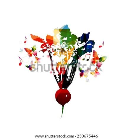 Colorful radish design - stock vector