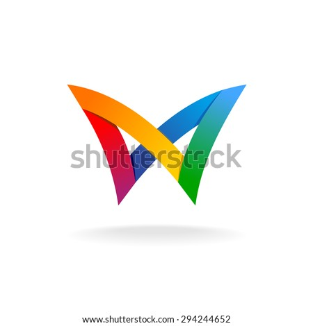 Colorful rainbow ribbons, butterfly logo - stock vector
