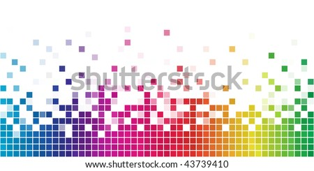 Colorful rainbow square mosaic. - stock vector