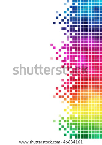 Colorful rainbow square mosaic side element. - stock vector