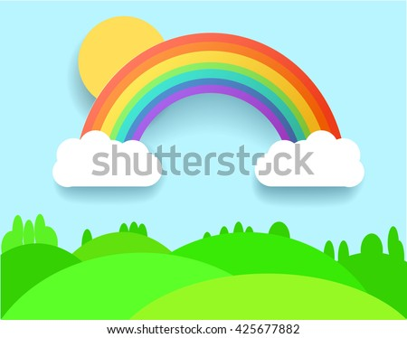 Colorful Rainbow With Clouds, Grass and Field. Vector Landscape Illustration.