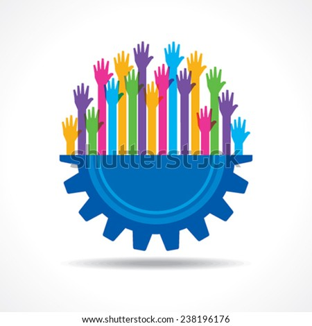 Colorful raised hand on the half gear symbol stock vector - stock vector