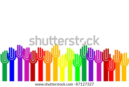 Colorful raising hands concept isolated on white