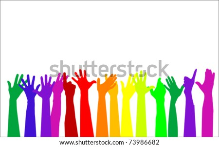 Colorful raising hands. Hands up concept