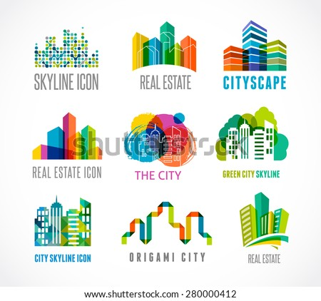 Colorful real estate, city and skyline icons, vector illustrations - stock vector