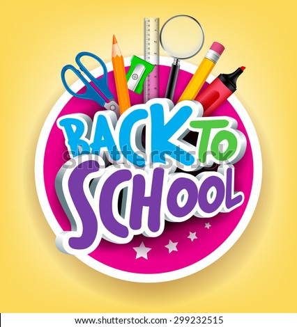 Colorful Realistic 3d Back School Title Stock Vector ...