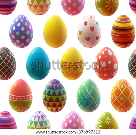 Colorful realistic eggs on white background. Seamless pattern. Easter collection. Vector illustration.