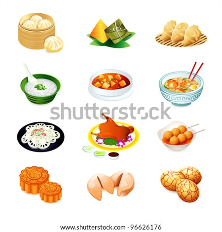 Colorful realistic icons of chinese popular food - stock vector