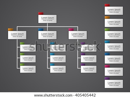 Colorful Rectangle Organization Chart Infographics with Color Tag and People Icon, Business Structure, Vector Illustration. - stock vector