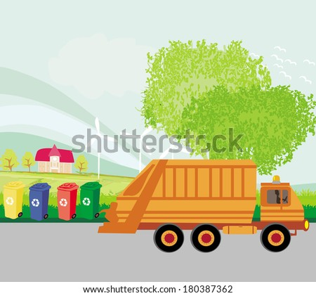 Colorful recycle bins ecology concept with landscape and garbage truck - stock vector