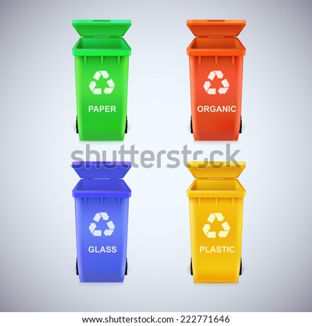 Colorful recycle bins with recycle sign. Ecological trash set, isolated - stock vector