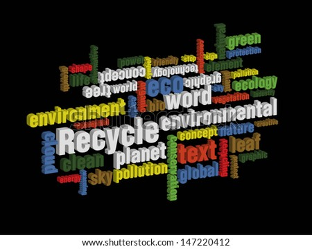colorful recycle wordcloud on dark background - stock vector