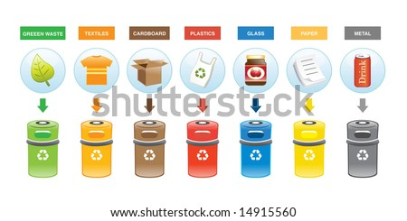 Colorful Recycling Bins - stock vector