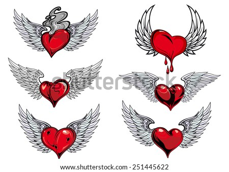 Colorful red and grey winged heart icons with one dripping blood, one smoking hot, in different shapes for tattoo design - stock vector