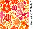 Colorful red flowers and shamrocks seamless pattern, vector - stock vector