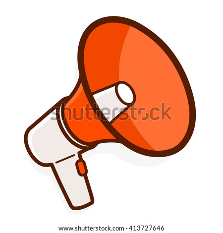 Colorful red megaphone or bullhorn for amplifying the voice for protests rallies or public speaking isolated on white, vector illustration - stock vector