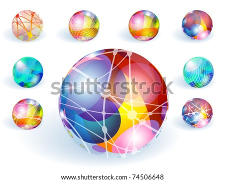 Colorful refracting globes. Vector. - stock vector