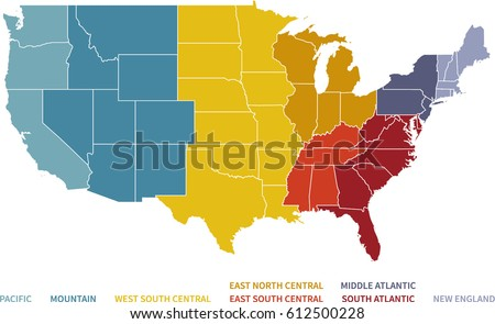 Colorful Regional Map United States Stock Vector - Us map with north south east west