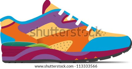 Colorful rendering of a running shoe - stock vector