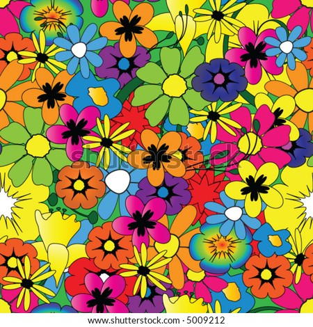 Colorful repeating flower pattern vector - stock vector