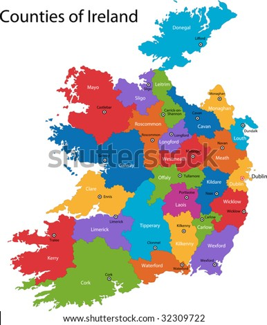 Colorful Republic of Ireland map with regions and main cities - stock vector