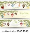 Colorful Retro Christmas Banner Set - stock vector