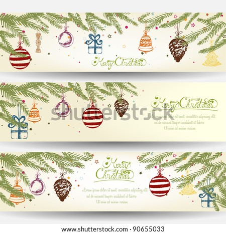 Colorful Retro Christmas Banner Set - stock vector