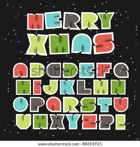 Colorful Retro Christmas Vector Alphabet - stock vector