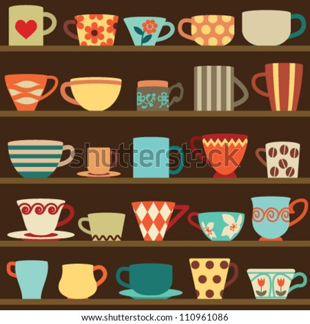 Colorful retro cups on shelves - stock vector