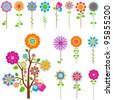colorful retro flowers and tree set - stock vector