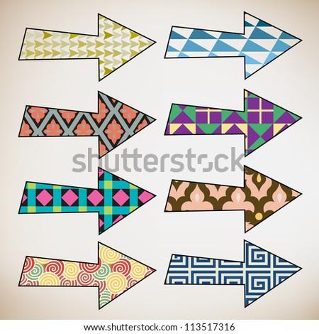 Colorful retro pattern hand drawn arrows - stock vector