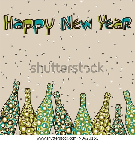 colorful retro pop with Champagne bottles and text happy new year for New Year, Christmas & Other occasions. - stock vector