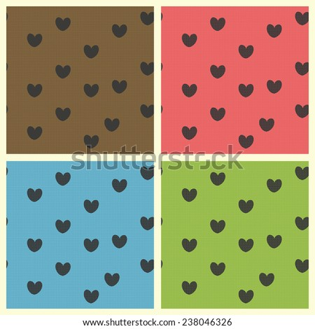 Colorful retro seamless patterns with hearts. Vector illustration for romantic design. Endless texture. - stock vector