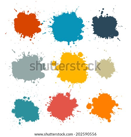 Colorful Retro Vector Stains, Blots, Splashes Set - stock vector