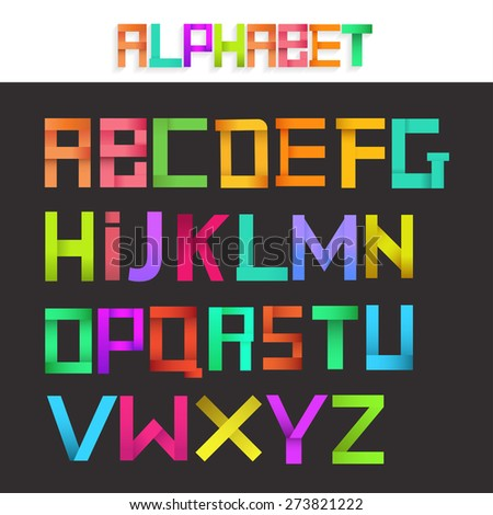 Colorful ribbon alphabet set. Creative concept. Vector illustration. - stock vector