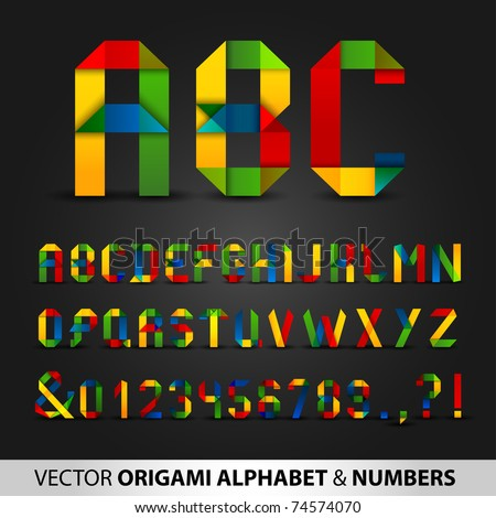 Colorful Ribbon Alphabet With Numbers - stock vector