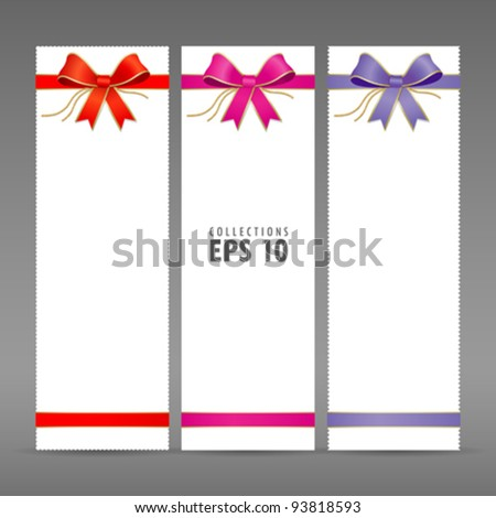 Colorful ribbon and white paper card vector illustration - stock vector