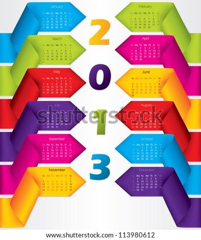 Colorful ribbon calendar design for year 2013 - stock vector