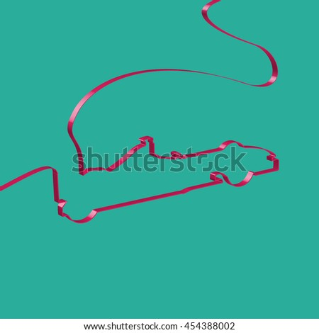 Colorful ribbon shapes a sports car, vector - stock vector